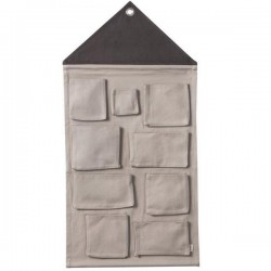 ferm living pochette murale house wall pocket - gris