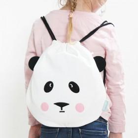 eef lillemor drawstring cotton bag panda