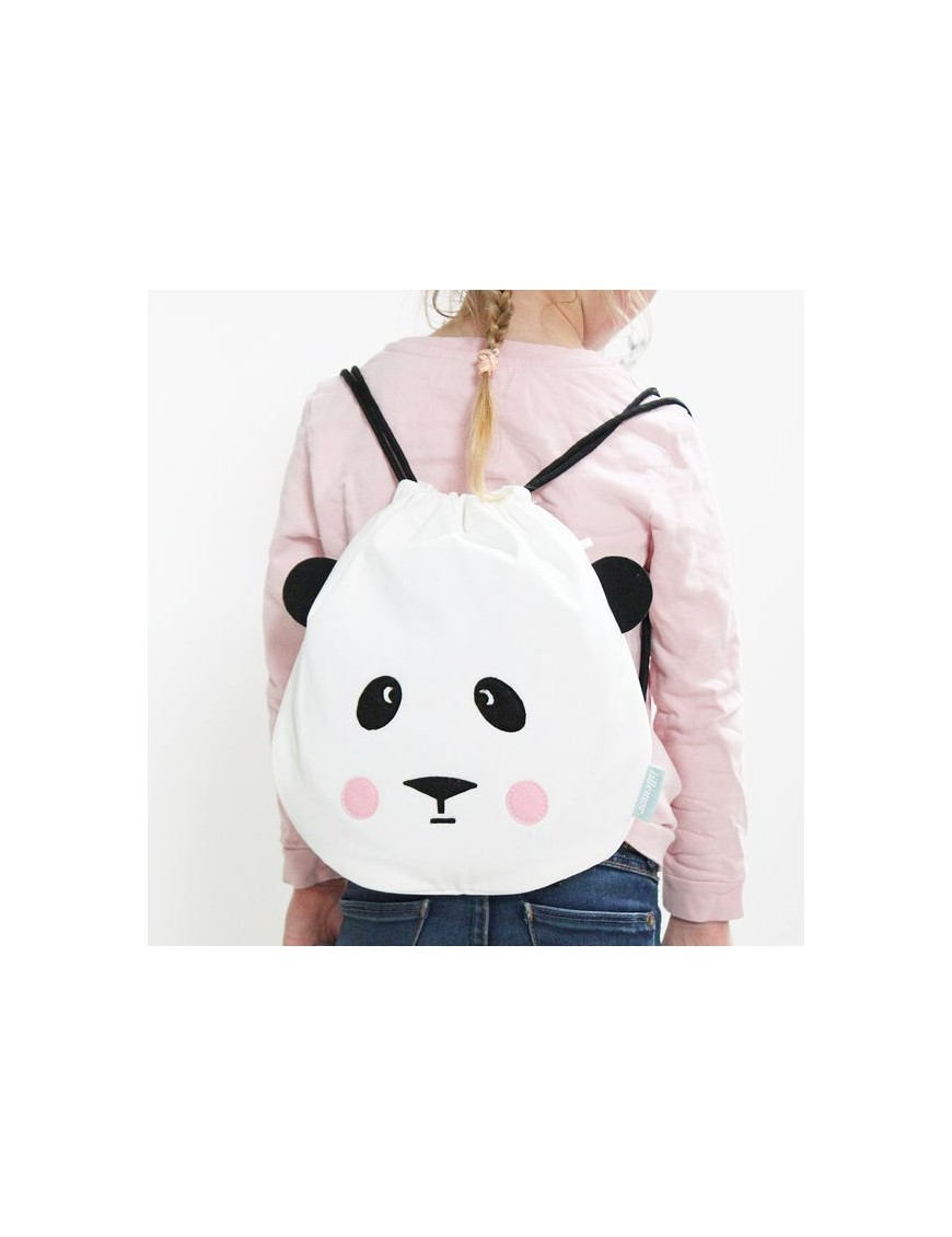 eef lillemor drawstring cotton bag panda
