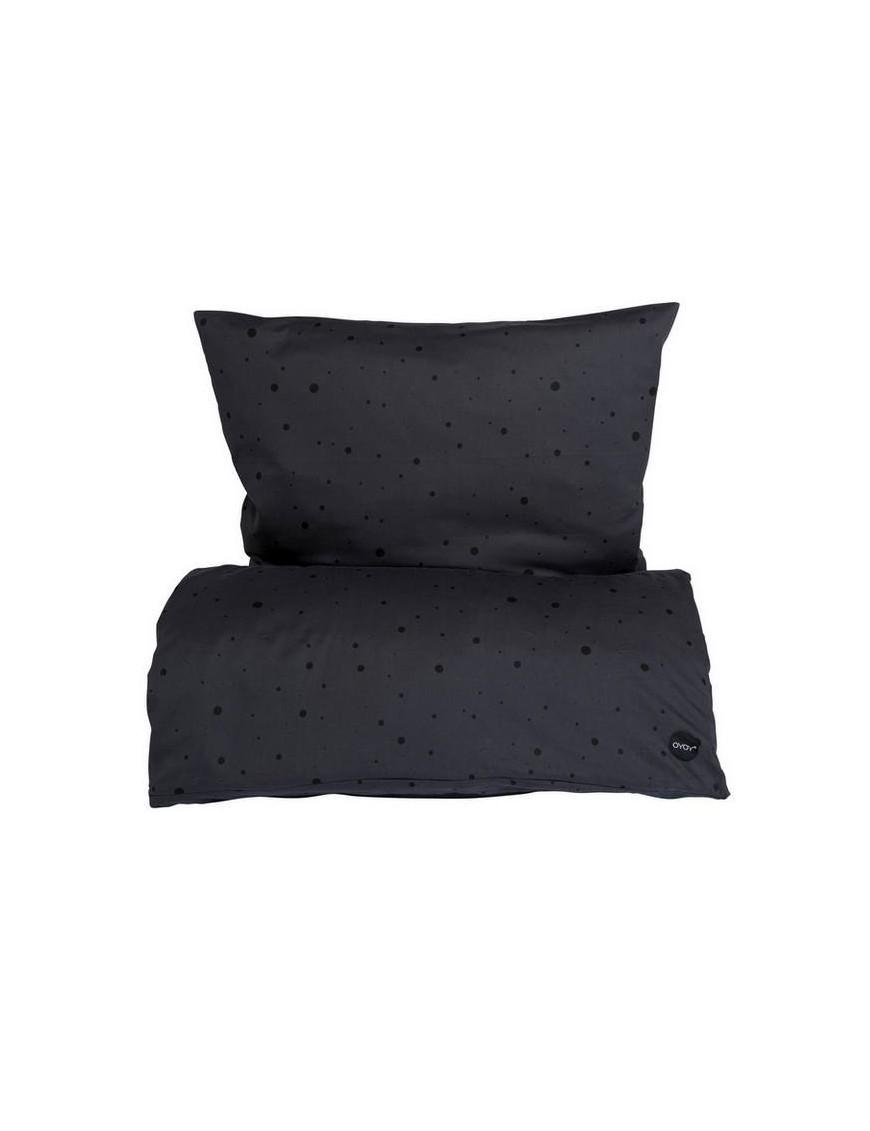 OYOY dot bedding Asphalt/black - xtra lenght 140x220cm