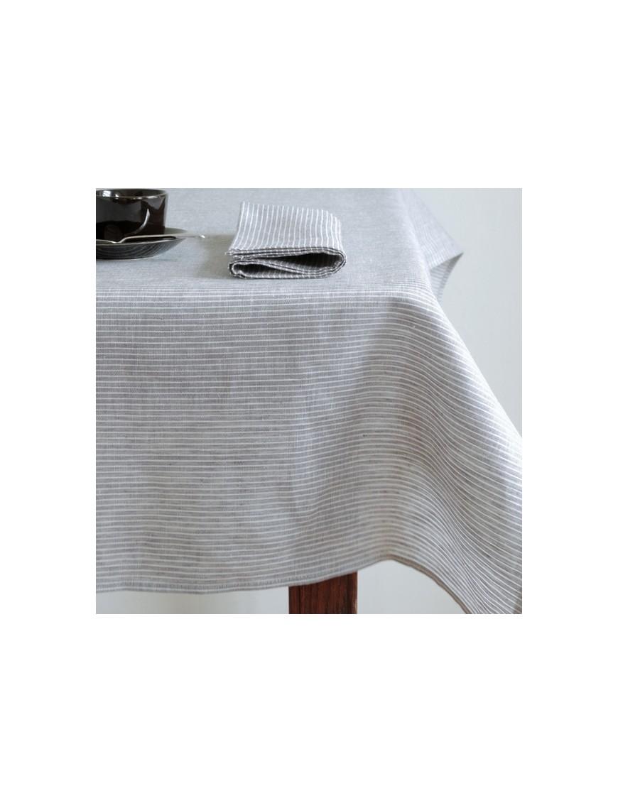Nappe lin lavé carrée : gris à rayures (130x130cm) - FOG LINEN