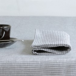 Linen napkin grey & white stripes FOG LINEN