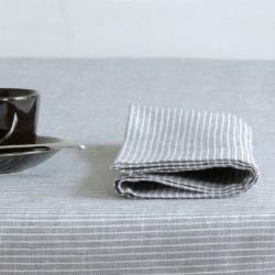 Serviette de table pur lin rayures grises FOG LINEN - 130 x 130 cm
