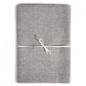 Linen tablecloth grey & white stripes FOG LINEN - 130 x 130 cm