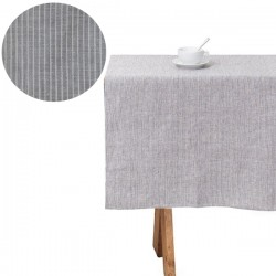 Nappe lin lavé rectangulaire : gris à rayures (145x250cm)   FOG LINEN