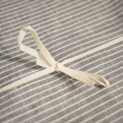 Nappe lin lavé rectangulaire : gris à rayures (145x250cm) | FOG LINEN