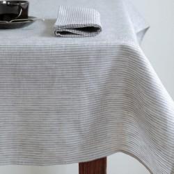 Nappe pur lin rayures grises FOG LINEN - 130 x 130 cm