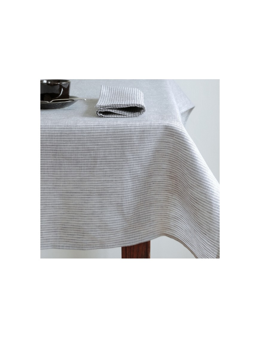 Linen tablecloth grey & white stripes FOG LINEN - 145 x 250 cm