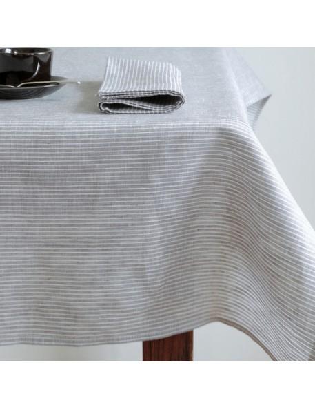 Linen tablecloth grey & white stripes FOG LINEN - 145 x 250 cm