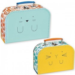 bandjo suitcase set cat & bunny - atomic soda
