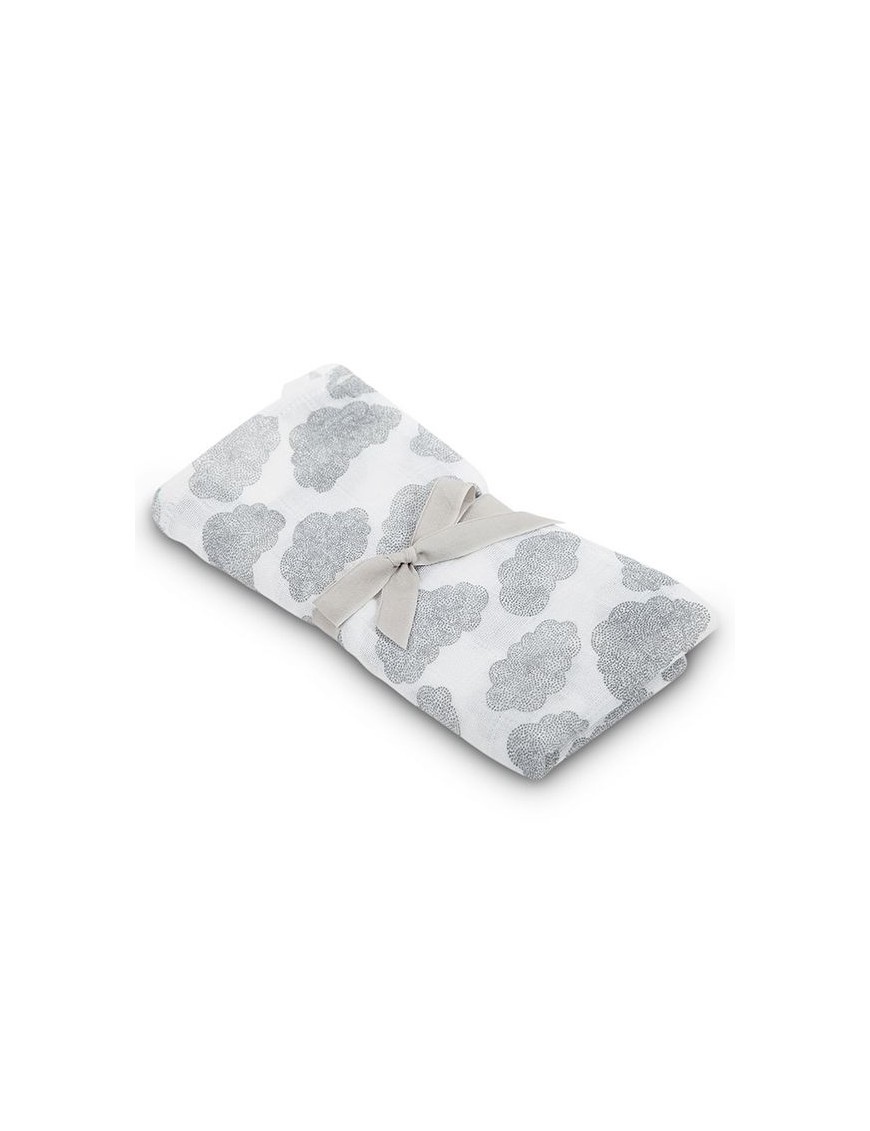 baby swaddle with clouds print by My Moumout