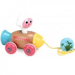 Ingela P Arrhenius pull along toy: rocket & astronaut | Vilac