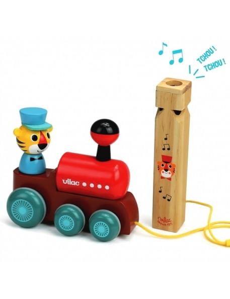 Ingela P Arrhenius train à trainer avec sifflet | jouets Vilac