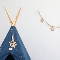 Guirlande en bois Nobodinoz : étoiles & perles (165cm)