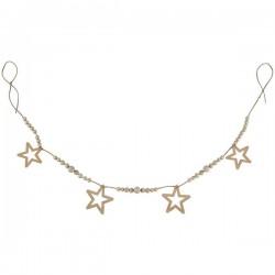Nobodinoz - guirlande en bois étoiles & perles (165cm)