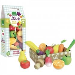 """Wooden fruits & vegetables toy set """"jour de marché"""""""