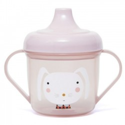 "Tasse d'apprentissage ""rabbit"" (rose) Petit Monkey"
