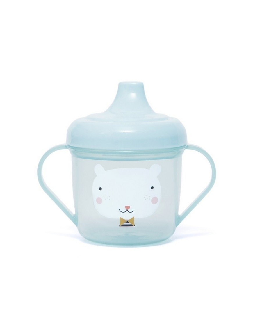 "Baby training cup ""bear"" (blue) - Petit Monkey"