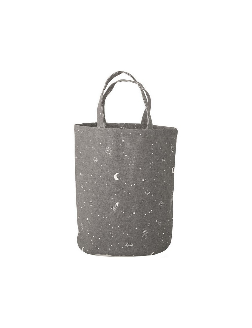 """Bloomingville - panier coton gris : """"espace"""" (Ø30xH40 cm)"""