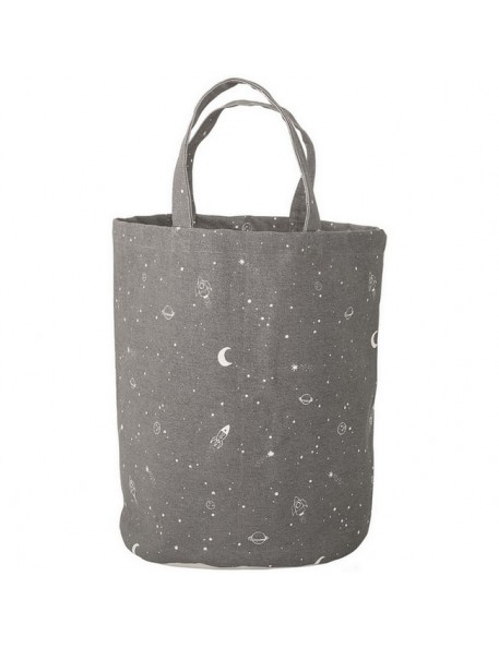 "Bloomingville - dark grey storage basket ""moon & star"" Ø30xH40 cm"