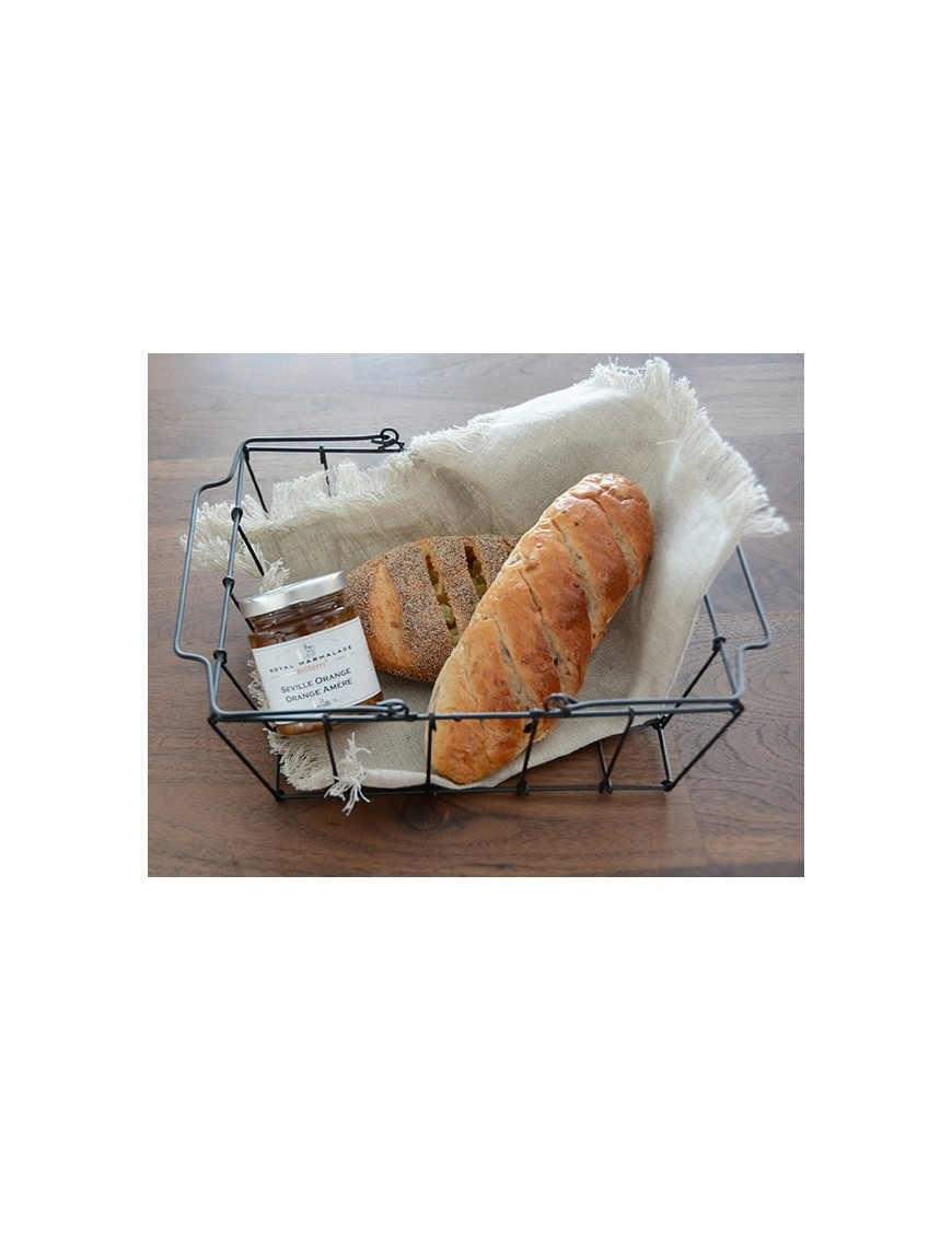 "FOG LINEN - panier ""grocery"" en fil de fer noir - medium"