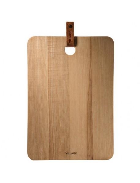 planche à découper en bois & cuir (large) - Village/ /On Interior