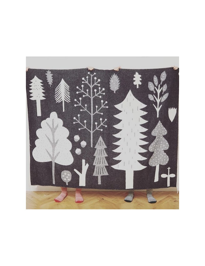 Donna Wilson - couverture laine forêt : noir & blanc