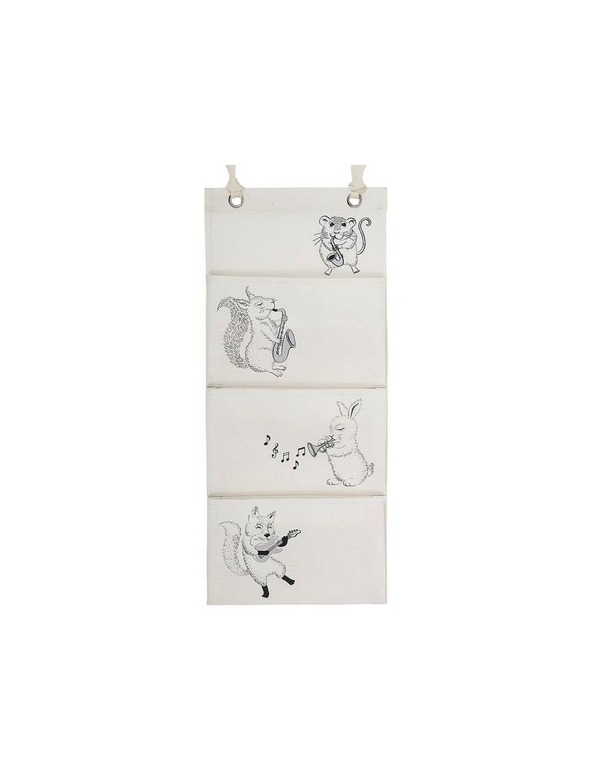 Bloomingville - wall storage pocket - white cotton