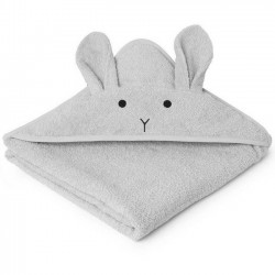 Liewood - hooded rabbit baby towel : dumbo grey