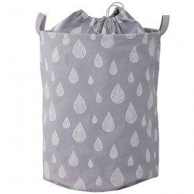 "Bloomingville - grey cotton storage basket ""drops"" Ø30xH40 cm"