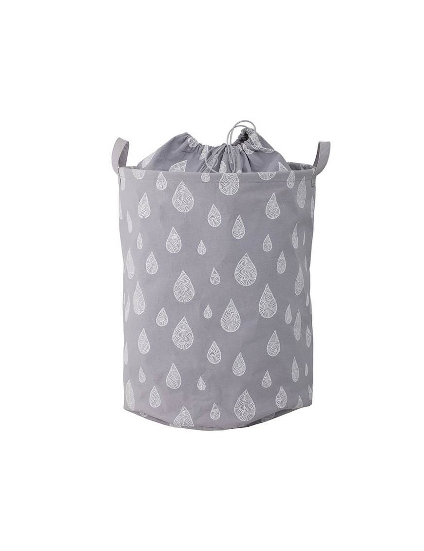 "Bloomingville - grey cotton storage basket ""drops"" Ø30xH40 cm"