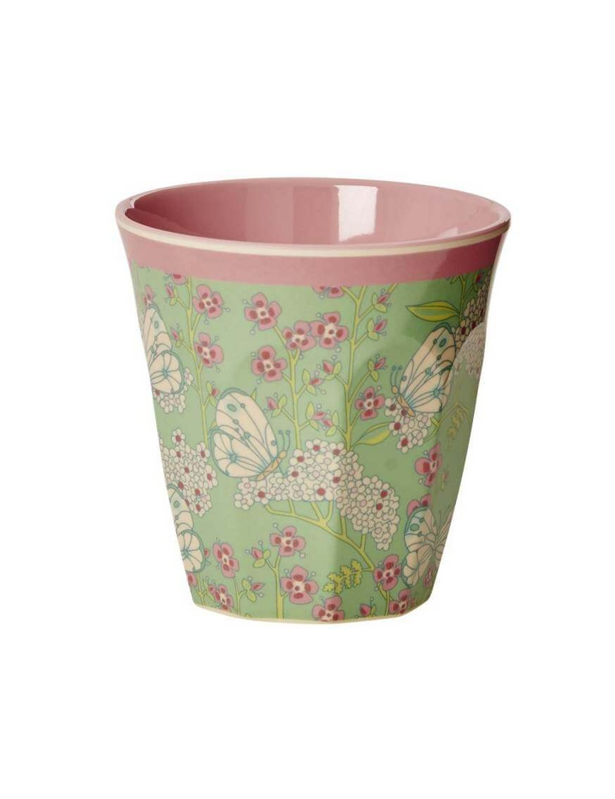 Rice - melamine cup: butterfly and flower (medium)