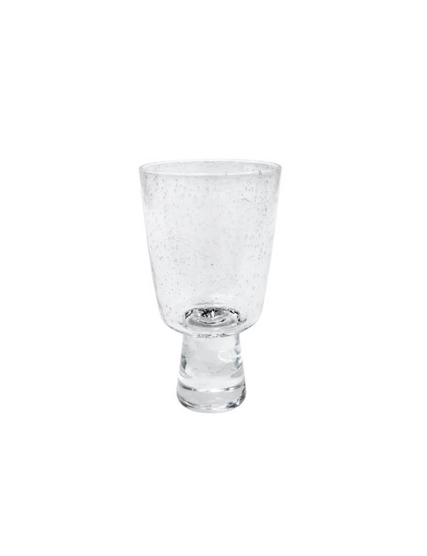 HK Living - 70's white wine glass (x4) - bubble clear glass