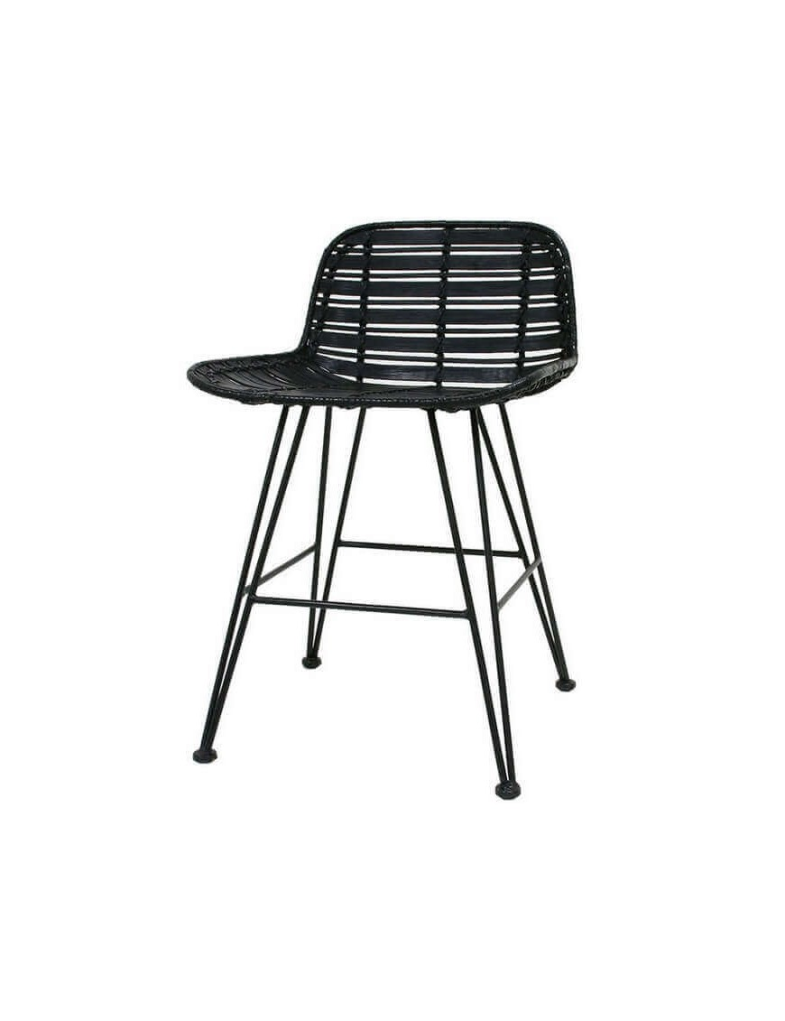 HK Living - rattan stool black hokaido