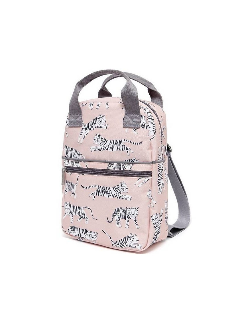Petit Monkey Backpack White Tiger Pink