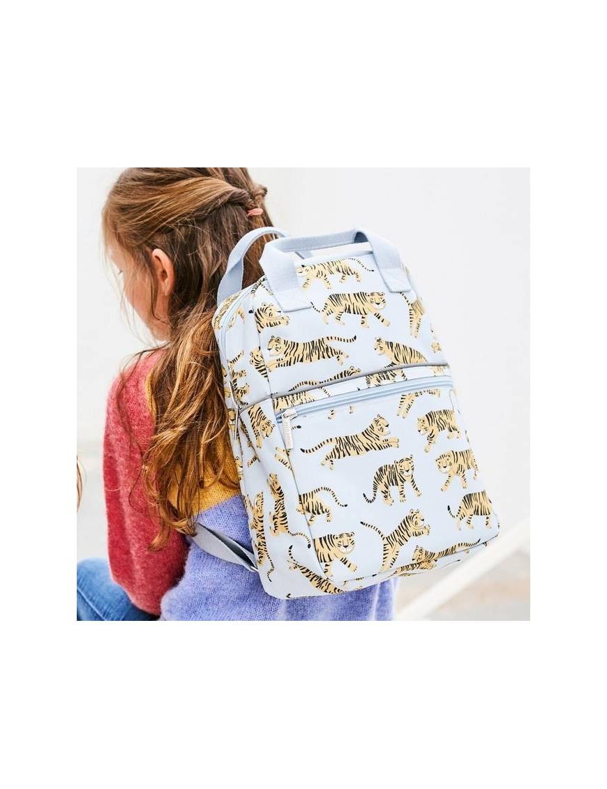 "Petit Monkey - sac à dos bleu ""léopard"" (35x25x10)"