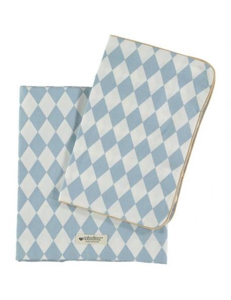 Nobodinoz - housse de couette junior (100x150): losanges bleus