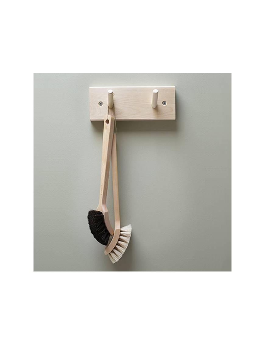 Portemanteau en bois de bouleau : 2 patères (19cm)