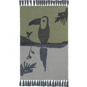 Tapis toucan, pétrole/gris (100 x 150cm)