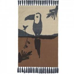 Tapis toucan, moka/pétrole (100 x 150cm)