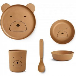 Liewood - bamboo tableware box set : bear mustard
