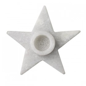 Bloomingville -Candleholder, Starshaped, Marble Ø9xH2,5 cm, candle Ø 2 cm