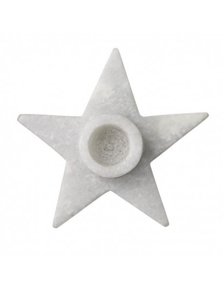 bloomingville bougeoir étoile en marbre Ø9xh2,5 cm(bougie Ø 2 cm)