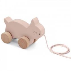 Liewood jouet à tirer: chat, rose