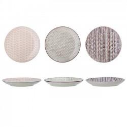 """assiettes en céramique, motifs """"Maya"""" (x3), Ø22cm - Bloomingville"""