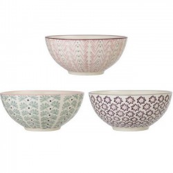 "Bols en céramique, motifs ""Maya"" (x3), Ø16.5cm - Bloomingville"