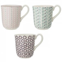 "Mugs en céramique, motifs ""Maya"" (x3), Ø9cm - Bloomingville"