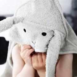 Liewood - hooded rabbit baby towel : dumbo grey