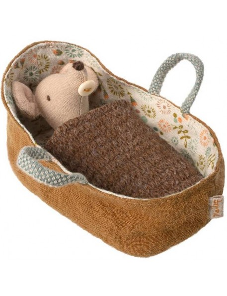 Maileg Baby mouse in a carry cot