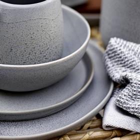 "BLOOMINGVILLE - grey stoneware plate ""Kendra"" Ø27,5 cm"